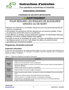 Instructions d`entretien