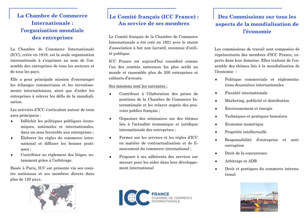 La chambre de commerce internationale l organisation - Chambre internationale de commerce ...