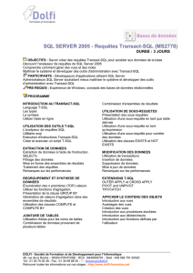 SQL SERVER 2005 - Requêtes Transact-SQL