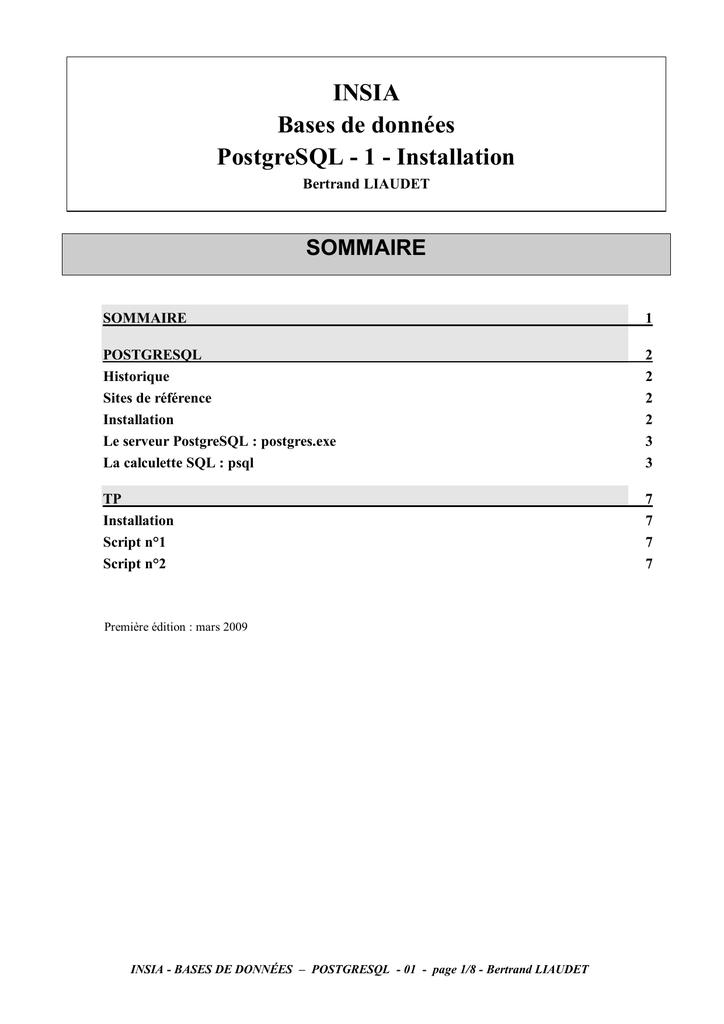 POSTGRESQL 8.3 TÉLÉCHARGER