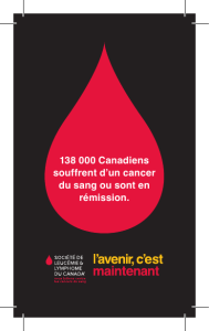138 000 Canadiens souffrent d`un cancer du sang ou sont en