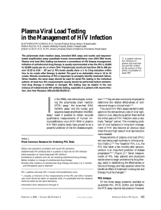 Plasma Viral Load Testing in the Management of HIV Infection
