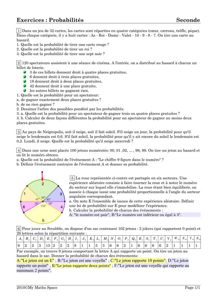 Exercices : Probabilités Seconde