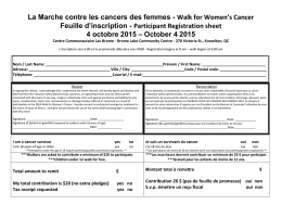 Walk for Women`s Cancer Feuille d`inscription