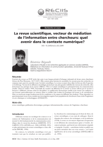 La revue scientifique, vecteur de médiation de l - Reciis