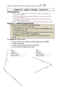 Chapitre XV : Angles et triangles : construction