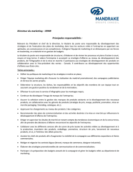 Directeur du marketing - 19949 Principales