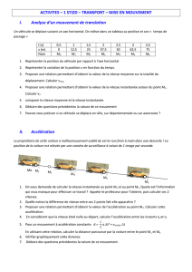 ACTIVITES – 1 STI2D – TRANSPORT – MISE EN MOUVEMENT I
