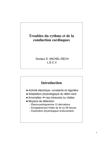 Troubles du rythme et de la conduction cardiaques Introduction