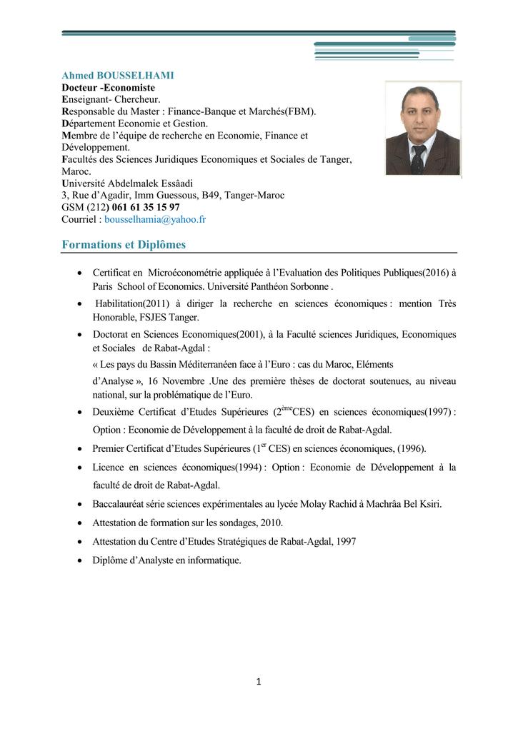 exemple de cv licence economie et gestion maroc pdf