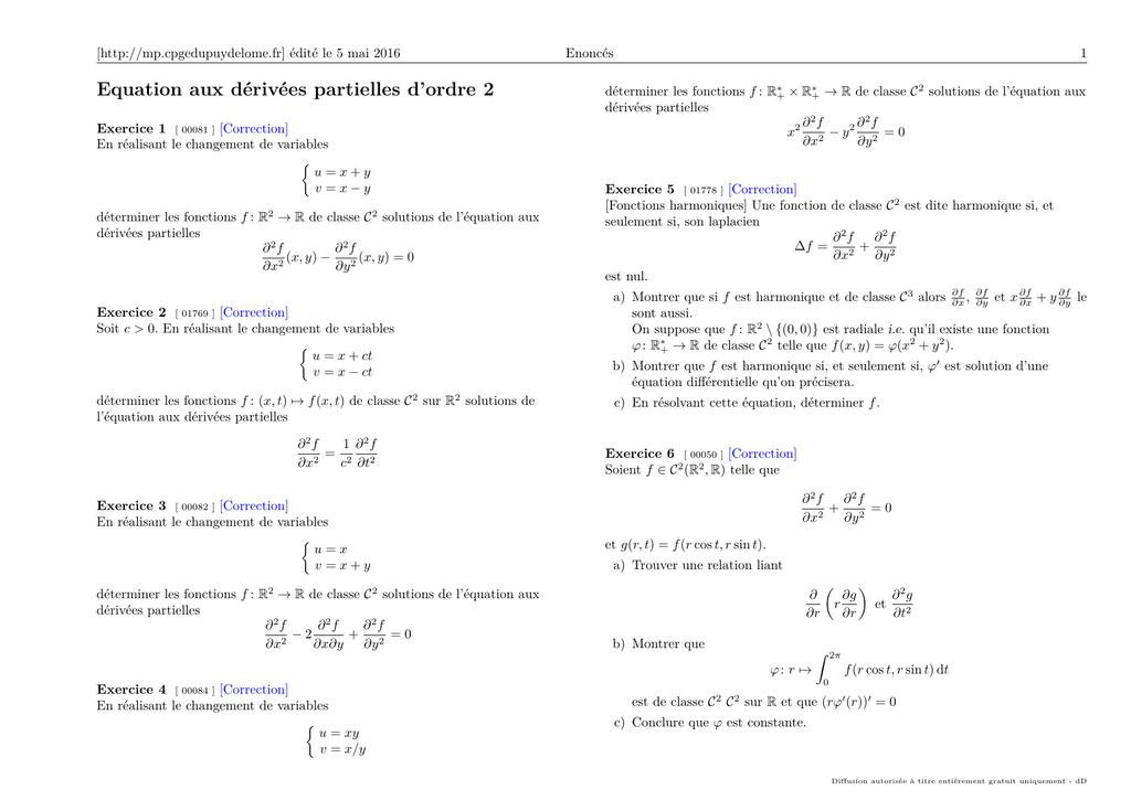 Equation Aux Derivees Partielles D Ordre 2