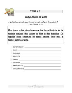 Test #6 – Les classes de mots