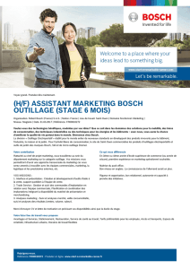 (H/F) ASSISTANT MARKETING BOSCH OUTILLAGE (STAGE 6 MOIS)
