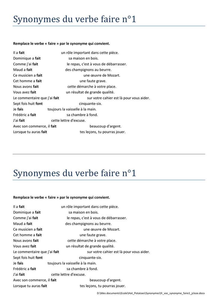 Synonymes Du Verbe Faire N 1 Synonymes Du Verbe Faire N 1
