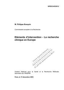 Eléments d`intervention - La recherche clinique en Europe