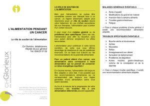 L`alimentation pendant un cancer