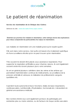 Le patient de réanimation