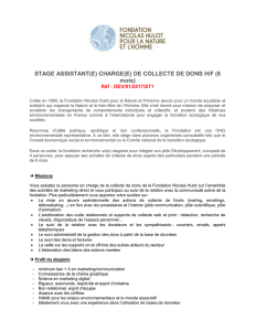 STAGE ASSISTANT(E) CHARGE(E) DE COLLECTE DE DONS H/F