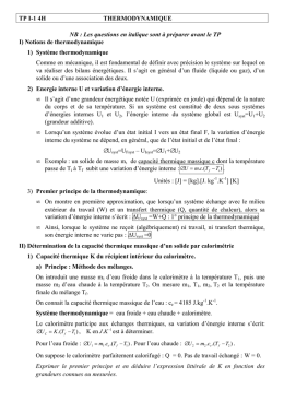 TP thermodynamique
