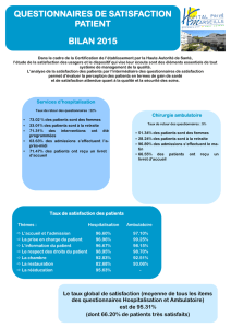 questionnaires de satisfaction patient bilan 2015