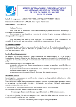 NOTICE D`INFORMATION DES PATIENTS PARTICIPANT AU