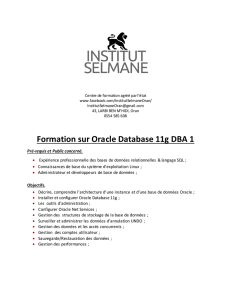 Formation sur Oracle Database 11g DBA 1