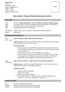 Exemple CV jeune diplome charge etudes marketing