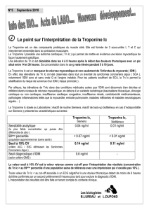 Le point sur l`interprétation de la Troponine Ic