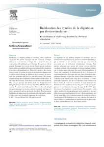 Re´e´ducation des troubles de la de´glutition par e