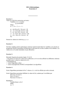 GEA Informatique, Exercices 2