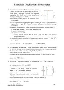 Exercices Oscillations Electriques