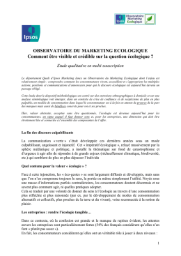 OBSERVATOIRE DU MARKETING ECOLOGIQUE