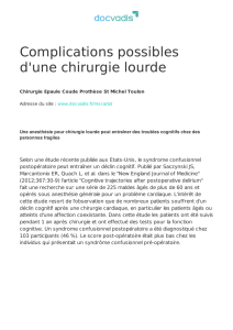 Complications possibles d`une chirurgie lourde
