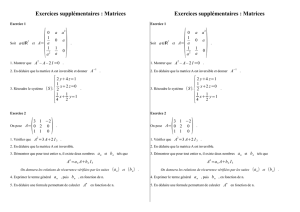 Exercices supplémentaires : Matrices Exercices supplémentaires