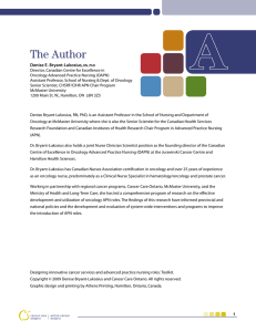 The Author - Cancer Care Ontario