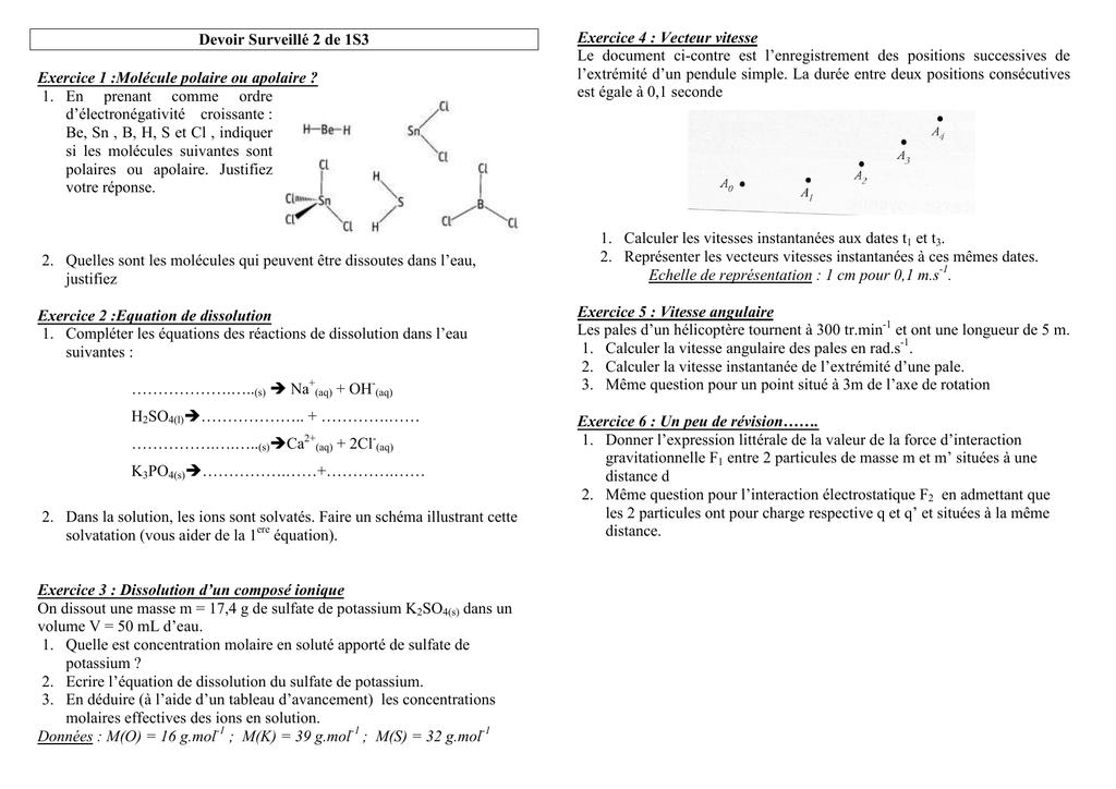 Devoir Surveille 2 De 1s3 Exercice 1 Molecule Polaire Ou Apolaire