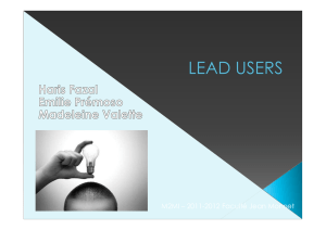 ppt lead user - Master 2 Marketing de l`Innovation