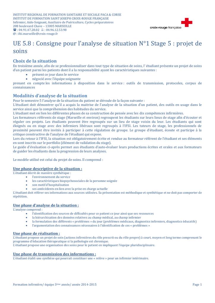 Ue 5 8 Consigne Pour L Analyse De Situation N 1 Stage 5 Projet De