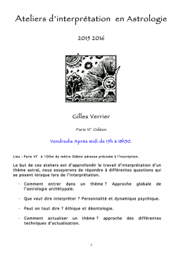 Ateliers d`interprétation en Astrologie