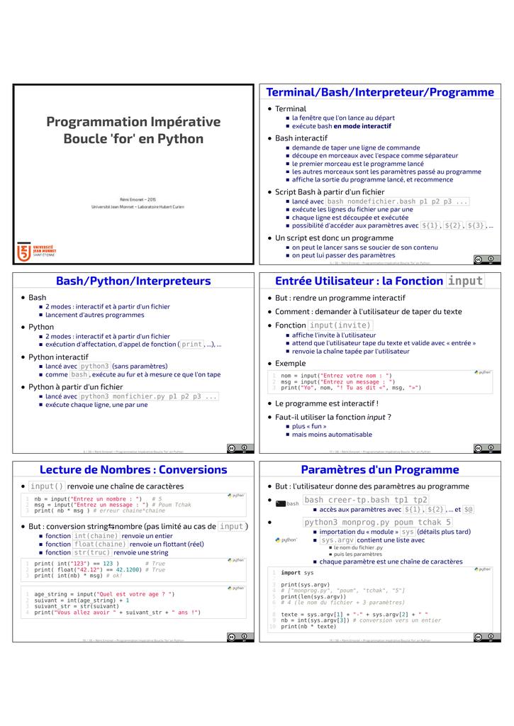Programmation Imperative Boucle For En Python