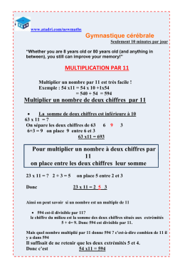 Gymnastique cérébrale MULTIPLICATION PAR 11 Multiplier un