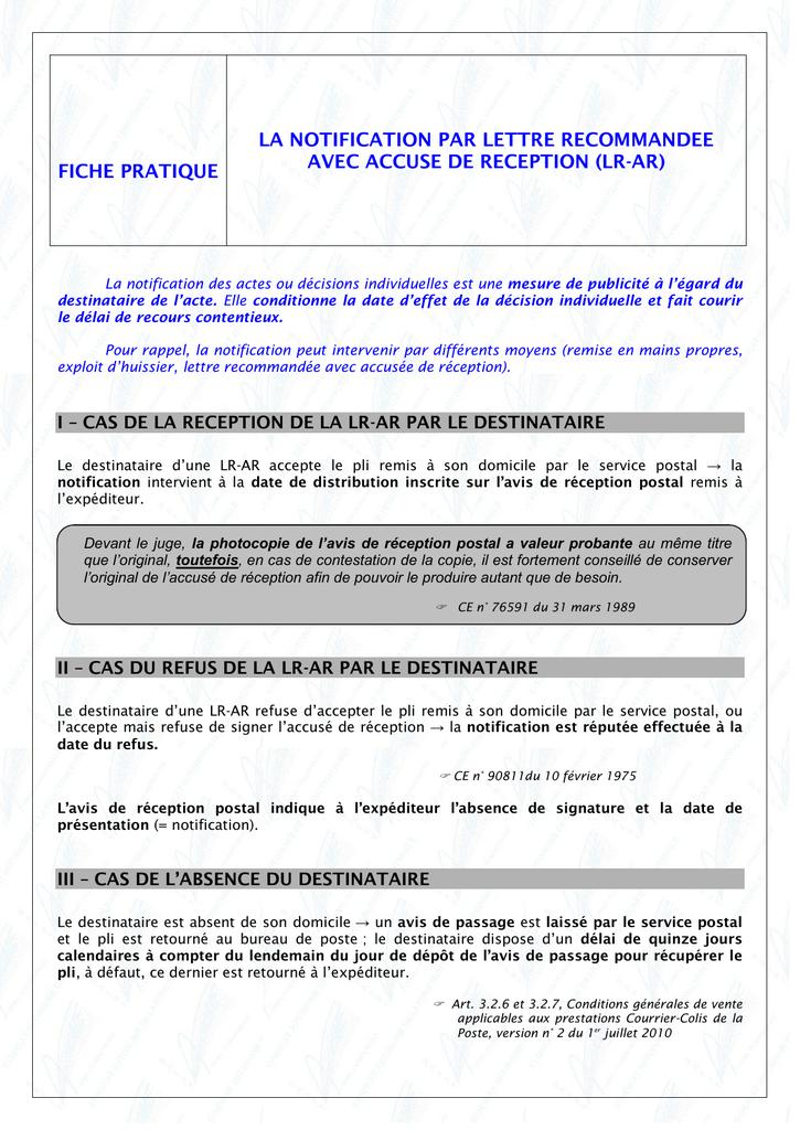 La Notification Par Lettre Recommandee Avec Accuse De Reception