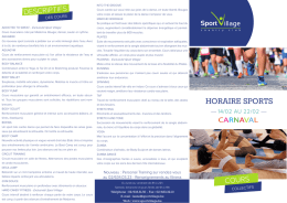 HORAIRE SPORTS