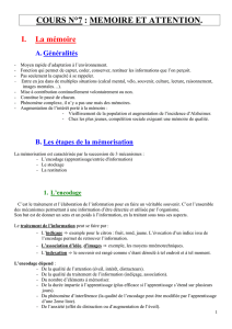 [Cours N°8] Mémoire et Attention