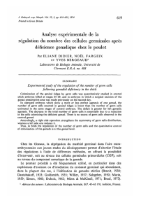 Analyse experimentale de la regulation du nombre
