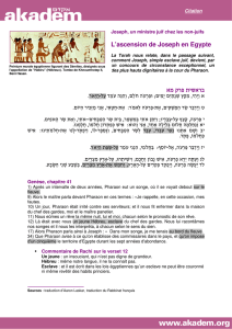 L`ascension de Joseph en Egypte בראשית פרק מא