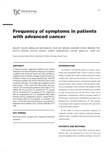 Frequency of symptoms in patients with advanced cancer