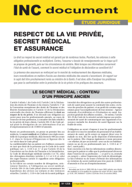 Respect de la vie privée, secret médical et assurance