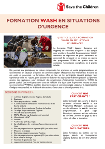 Formation WASH en situations d`urgence