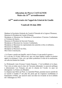 Allocution de Pierre CASTAGNOU Maire du 14 arrondissement 64